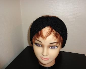 Crocheted black HEADBAND