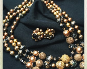 Vintage Marked JAPAN Black and Gold Multi-Strand Necklace with Matching Earrings