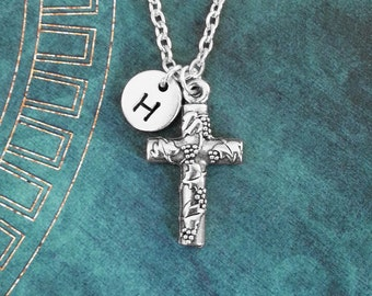 Cross Necklace SMALL Silver Cross Charm Necklace Cross Jewelry Christian Jewelry Grapevine Jewelry Christian Necklace Cross Pendant Necklace