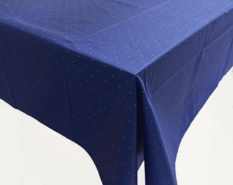 Blue and Yellow Tablecloth, Coated Tablecloth, French Tablecloth
