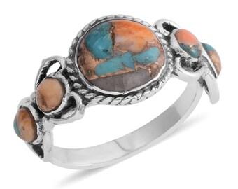 Santa Fe Style Spiny Turquoise Ring - Size 8