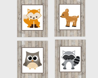 Baby Nursery Printable Art Baby Boy Nursery Woodland Animal Fox Deer Raccoon Owl Rustic Farmhouse Style Baby Nursery Decor DIGITAL DOWNLOAD