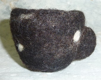 Brown Jacob needlefelted wool teacup bowl