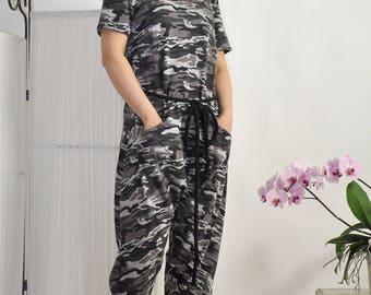 Military Harem Cotton Jumpsuit/Women casual jumpsuit/Loose jumpsuit/Military romper/Oversize jumpsuit/Plus size jumpsuit/Two pockets/G3304