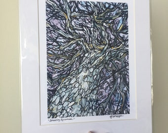 """11x14"""" Matted Giclee Print of Sprawling Sycamore Tree by Tracy Levesque"""