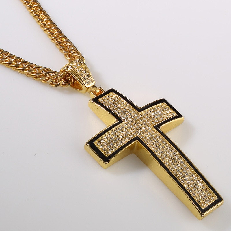 Iced out hip hop lab simulated diamond gold cross pendant zoom mozeypictures Gallery