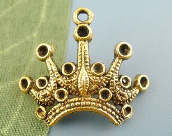 10 pieces Antique Gold Crown Charms