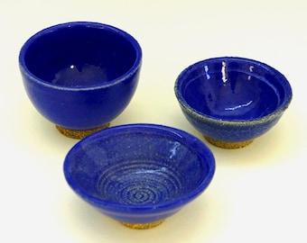 Blue ceramic bowl, bowl set, blue pottery bowl, small bowls, handmade, set of bowls