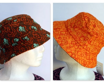 Octopus Reversible Bucket Hat - sizes 6 mths - 8 yrs - brown, orange, retro