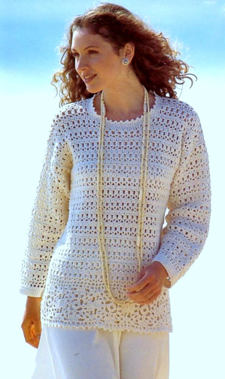 Vintage Crochet Pattern Tunic Sweater Long Line Summer Cotton Jumper ...