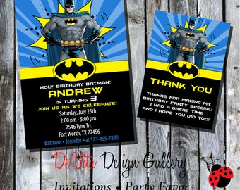 Batman Birthday Invitation with Picture BOYS Birthday Party Printable - 5x7 or 4x6 and FREE Thank You Card Printable 5x3.5