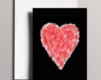 Candy Floss Valentine's Card - Love Card - Heart Greeting Card