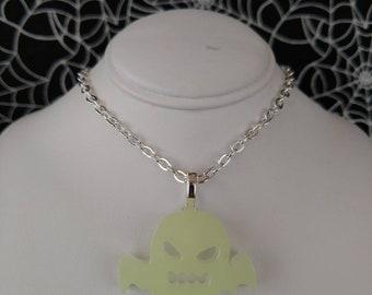 Resin Ghost Pendant, Green Glow in the Dark, 013