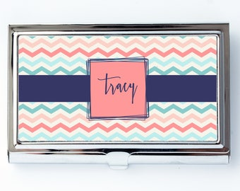 Chevron card holder etsy chevron personalized custom business card holder credit card case birthday gift bc004 colourmoves