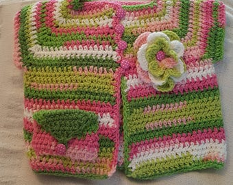 Crochet Baby Flower Cardigans     Size 3-6 months old