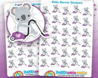 30 Cute Koko the Koala Hoover/Vacuum/Cleaning Planner Stickers, Filofax, Erin Condren, Happy Planner, Kawaii, Cute Sticker, UK