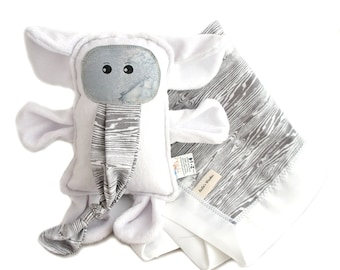 Minky Baby Blanket and Plush Toy Elephant Grey and White Wood Grain Chenille Woobie Baby Shower Gift Set