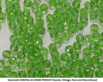 40 Swarovski 5mm PERIDOT Round Crystals, Article #5000, New from Vintage Package