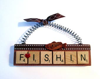 Fishing Scrabble Tile Ornaments