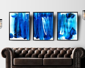 Painting Wall Art Prints, Set of 3 Prints. Draw  set, BLUE