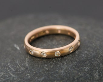 18k Rose Gold Eternity Band with Moissanites - Moissanite Rose Gold Wedding Ring - Rose Gold Eternity Ring - Made to Order Eternity Ring