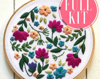 full kit | hand embroidery kit | embroidery kit | diy embroidery | diy embroidery kit | embroidery pattern | modern embroidery kit | floral