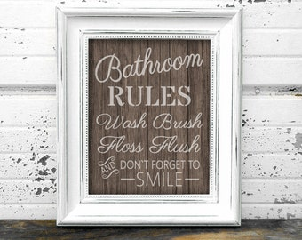Bathroom Rules Sign // Instant Download 8x10 Printable Wooden Rustic Bathroom Sign // Bathroom Rules