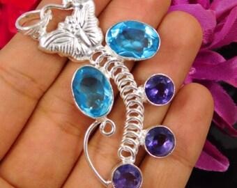 Swiss Blue Topaz Quartz Gemstone Jewellery Handmade Pendant