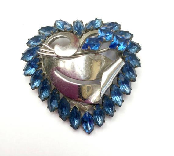 Blue Heart Brooch - Rhinestone - open back - silver  - mid century pin -light bluish crystal
