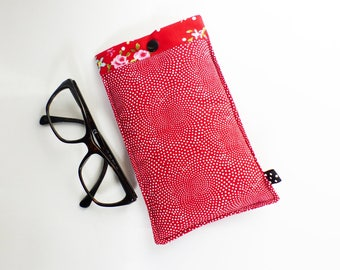 Fleece patterns dots red and white glasses case / red ROSES