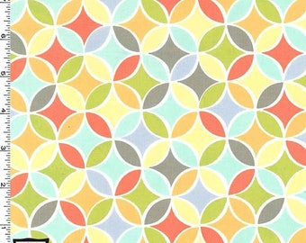 "28"" REMNANT - Tile Pile by Michael Miller, Pattern #PC6313-MULT-D, Geometric Circles and Tear Drops in Green, Yellow, Gray, Aqua, Coral"