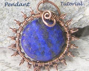 SALE!  Sunburst Pendant 1 TUTORIAL - Wire Jewelry Pendant eBook  Instructions, PDF file only