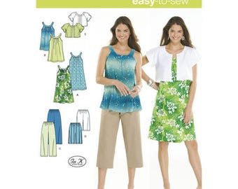 Simplicity Sewing Pattern 3799,  Misses Dress Pattern, Tunic Pattern, Cropped Pants, Shorts and Jacket, New Uncut