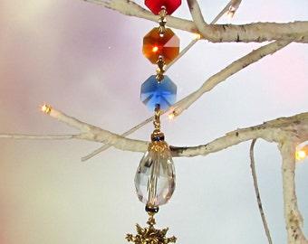 Sun Catcher, Christmas Ornament, Jewel Tone, Celestial Sun, 1S-3
