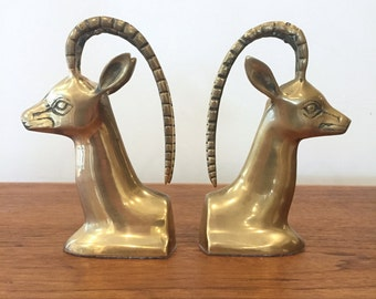 Vintage Pair of Brass Antelope Bookends | Gazelle Impala | Mid Century Hollywood Regency