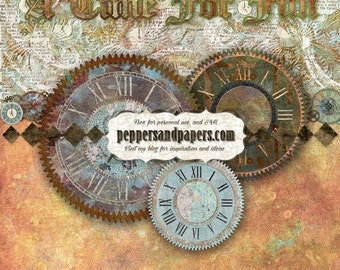 Steampunk Printable layout  - Premade 24x12 Instant double page, S4H Scrapbook pages  - Time