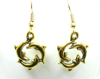 Gold dolphin earrings, gold dolphin, circle of dolphins, dolphin jewelry, dolphin jewellery, dolphin charm, charm earrings,
