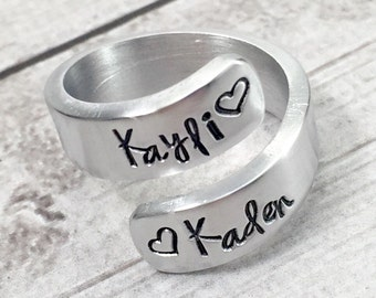 Mom Ring - Name Ring - Mothers Day Gift- Gift for Mom - Ring Kids Names - Mother Ring - Mommy Ring - Hand Stamped - Personalized - Wrap Ring