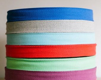"1""  cotton twill tape, herringbone tape, 50 yard roll, over 200 colour choices. Wholesale ribbons / apron ties / flat tape."