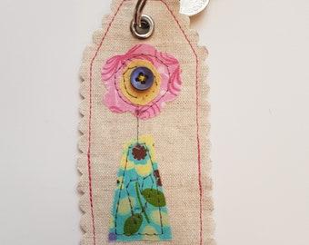 Key Ring, key chain, Key Fob, Bag Charm, Original Fabric Art, textile art, machine embroidery