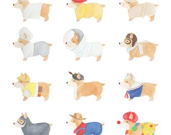 Career Corgi Dress Up Dogs Watercolour Illustration Print