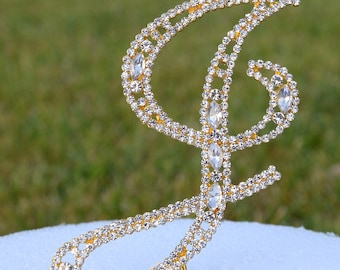 """Large 5""""  Crystal Rhinestone Gold Cake Topper Letter """"J"""" Monogram Wedding Birthday Party Top Initial CT092"""