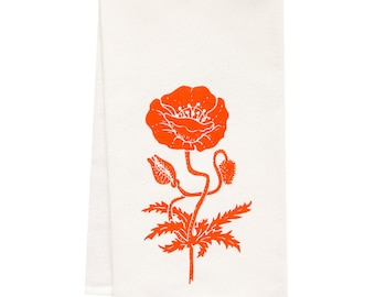 organic poppy block print tea towel