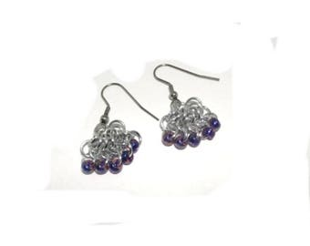 Silver and Blue Chain Maille Dangle Earrings