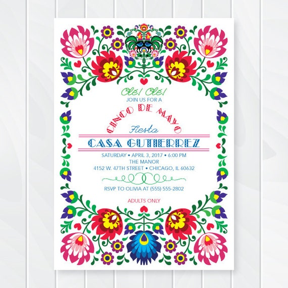 Cinco De Mayo Invitations Mexican Fiesta Invites Fiesta