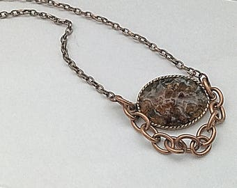 Brown Crushed Beach Glass and Copper Chain Necklace - Christmas at the Beach - Seaglass Jewelry - Florida Beach Glass Pendant