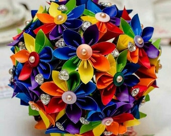 Paper Flower Origami Bouquet Corsage Buttonhole Alternative Wedding Groom Bride Rainbow Theme Gems