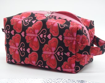 Valentine Bag, Sweetheart Bag, Butterfly Hearts Zip Pouch, Ditty Bag, Toiletry Kit, Pencil Case, Toy Bag, Shave Kit, Travel Case