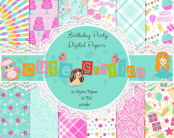 Birthday digital paper with cake, cupcakes, gifts, confetti, polka dots, Happy Birthday scrapbook,Birthday Boy- Girl,Baby Digital Papers