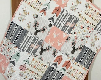 Baby Girl Quilt, Rustic Baby Quilt, Woodland Baby Quilt, Deer, Arrows, Fawn, Rustic Nursery, Woodland Crib Bedding, Grey and Pink Quilt Q-18